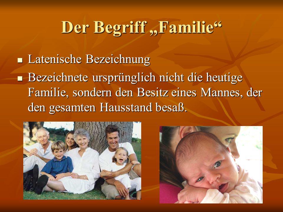Der Begriff Familie Latenische Bezeichnung Latenische Bezeichnung Bezeichnete ursprünglich nicht die heutige Familie, sondern den Besitz eines Mannes,