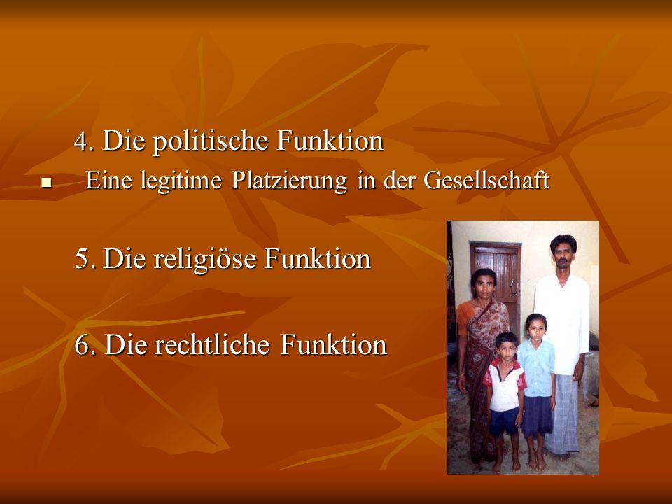 4. Die politische Funktion Eine legitime Platzierung in der Gesellschaft Eine legitime Platzierung in der Gesellschaft 5. Die religiöse Funktion 6. Di