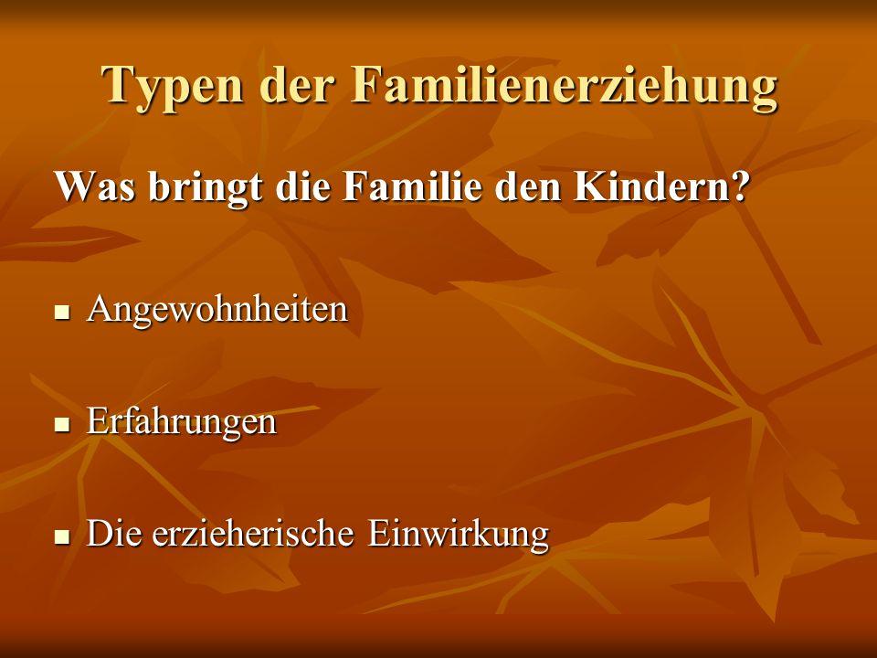 Typen der Familienerziehung Was bringt die Familie den Kindern? Angewohnheiten Angewohnheiten Erfahrungen Erfahrungen Die erzieherische Einwirkung Die