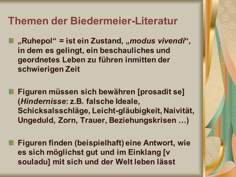 Themen der Biedermeier-Literatur Ruhepol = ist ein Zustand, modus vivendi, in dem es gelingt, ein beschauliches und geordnetes Leben zu führen inmitte