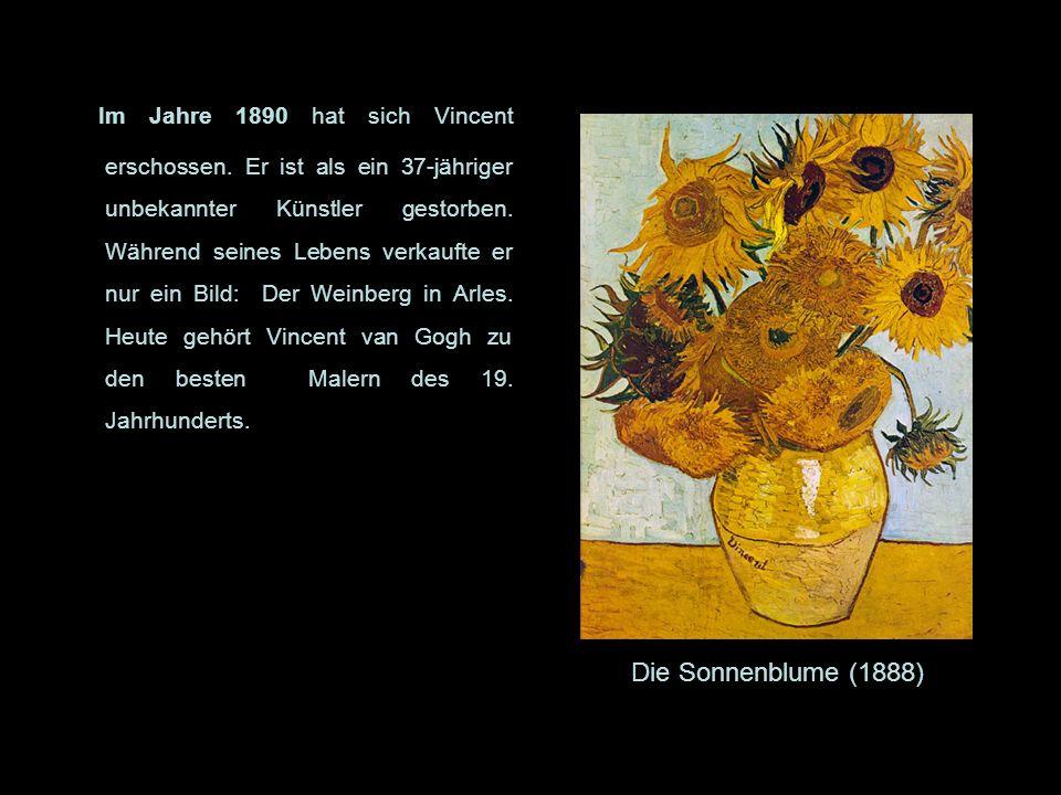Im Jahre 1890 hat sich Vincent erschossen. Er ist als ein 37-jähriger unbekannter Künstler gestorben. Während seines Lebens verkaufte er nur ein Bild: