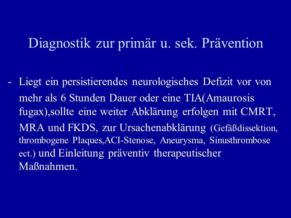 Diagnostik zur primär u. sek. Prävention -Liegt ein persistierendes neurologisches Defizit vor von mehr als 6 Stunden Dauer oder eine TIA(Amaurosis fu