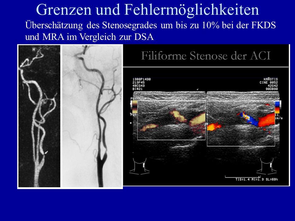Grenzen und Fehlermöglichkeiten Überschätzung des Stenosegrades um bis zu 10% bei der FKDS und MRA im Vergleich zur DSA