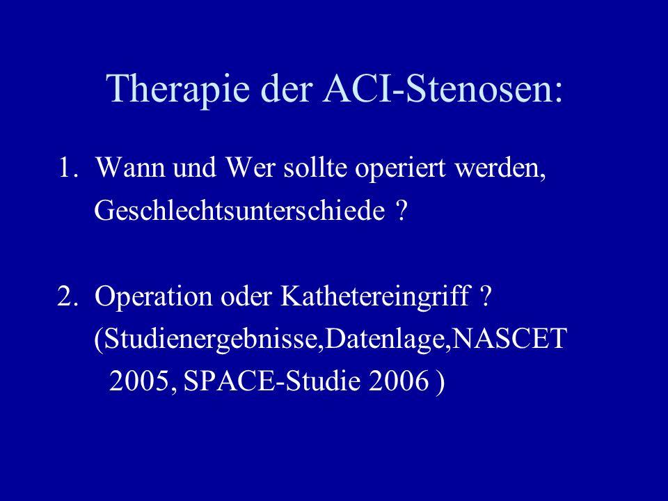 Therapie der ACI-Stenosen: 1. Wann und Wer sollte operiert werden, Geschlechtsunterschiede ? 2. Operation oder Kathetereingriff ? (Studienergebnisse,D