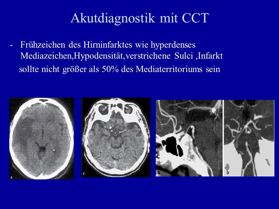Akutdiagnostik mit CCT -Frühzeichen des Hirninfarktes wie hyperdenses Mediazeichen,Hypodensität,verstrichene Sulci,Infarkt sollte nicht größer als 50%