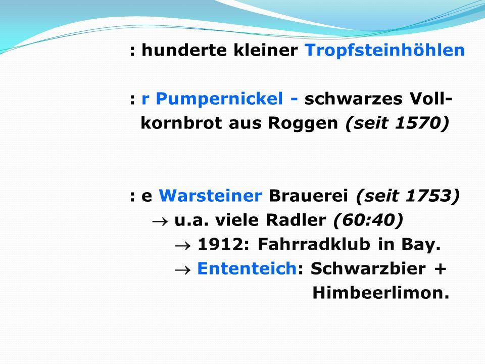 : hunderte kleiner Tropfsteinhöhlen : r Pumpernickel - schwarzes Voll- kornbrot aus Roggen (seit 1570) : e Warsteiner Brauerei (seit 1753) u.a. viele