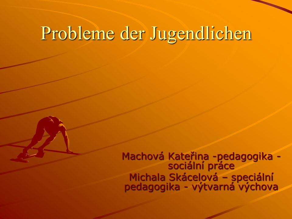 Probleme der Jugendlichen Machová Kateřina -pedagogika - sociální práce Michala Skácelová – speciální pedagogika - výtvarná výchova