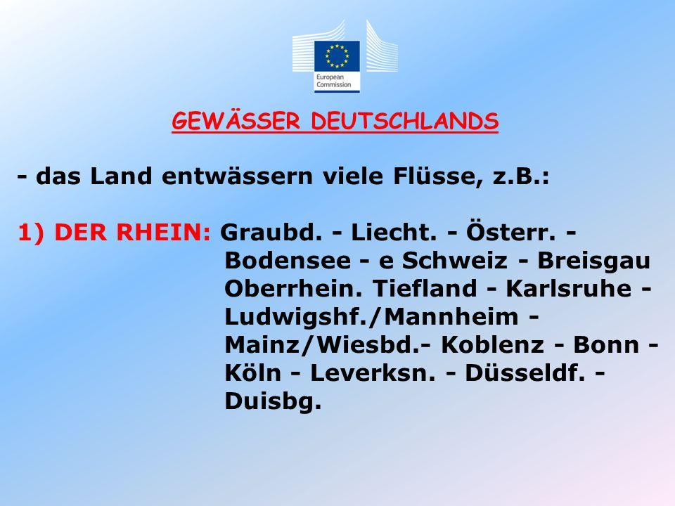 GEWÄSSER DEUTSCHLANDS - das Land entwässern viele Flüsse, z.B.: 1) DER RHEIN: Graubd. - Liecht. - Österr. - Bodensee - e Schweiz - Breisgau Oberrhein.