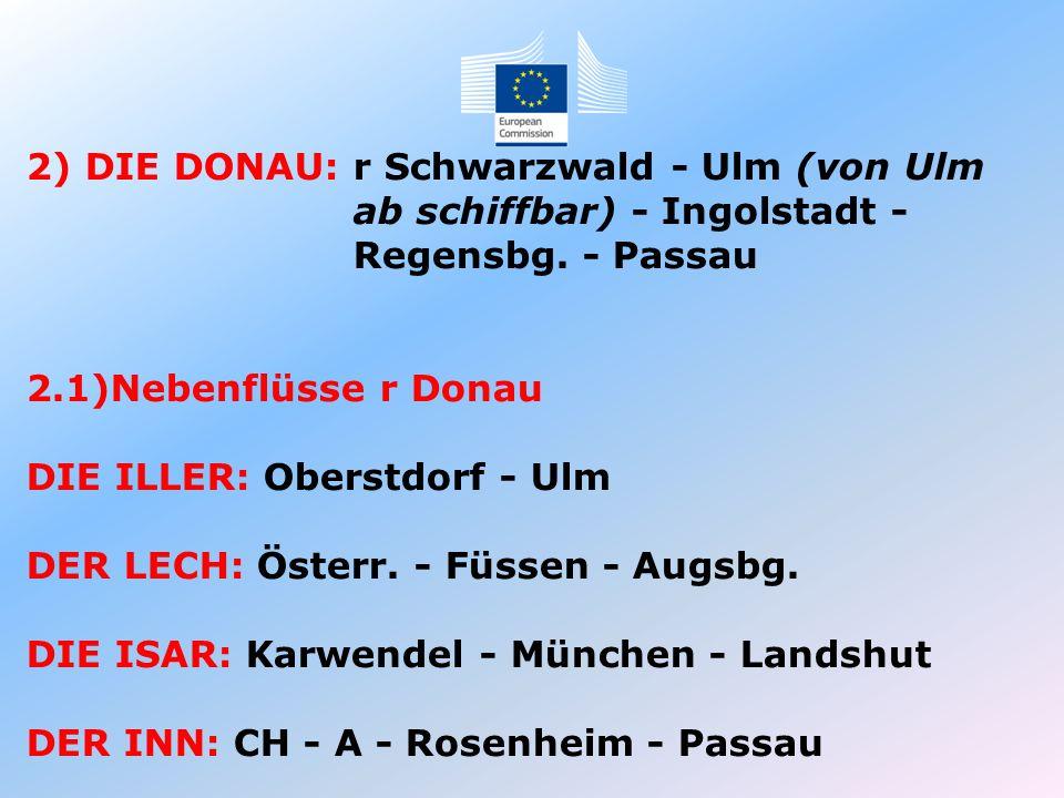 2) DIE DONAU: r Schwarzwald - Ulm (von Ulm ab schiffbar) - Ingolstadt - Regensbg. - Passau 2.1)Nebenflüsse r Donau DIE ILLER: Oberstdorf - Ulm DER LEC