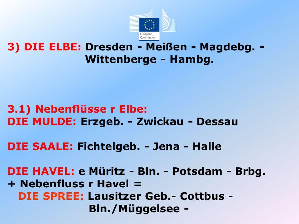 3) DIE ELBE: Dresden - Meißen - Magdebg. - Wittenberge - Hambg. 3.1) Nebenflüsse r Elbe: DIE MULDE: Erzgeb. - Zwickau - Dessau DIE SAALE: Fichtelgeb.
