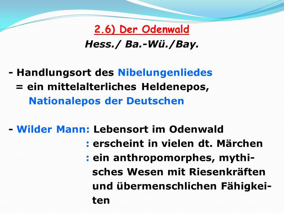 2.6) Der Odenwald Hess./ Ba.-Wü./Bay. - Handlungsort des Nibelungenliedes = ein mittelalterliches Heldenepos, Nationalepos der Deutschen - Wilder Mann