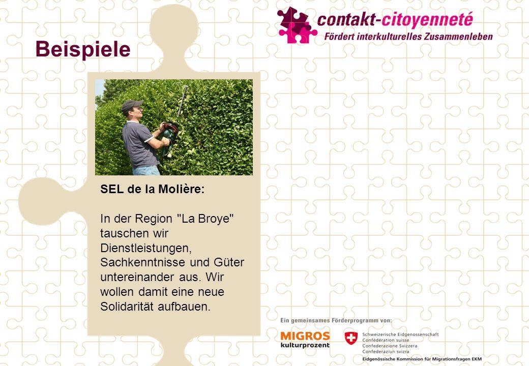 Beispiele SEL de la Molière: In der Region La Broye tauschen wir Dienstleistungen, Sachkenntnisse und Güter untereinander aus.