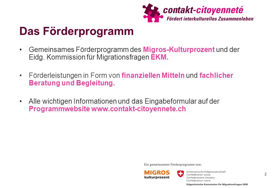 Das Förderprogramm Gemeinsames Förderprogramm des Migros-Kulturprozent und der Eidg.