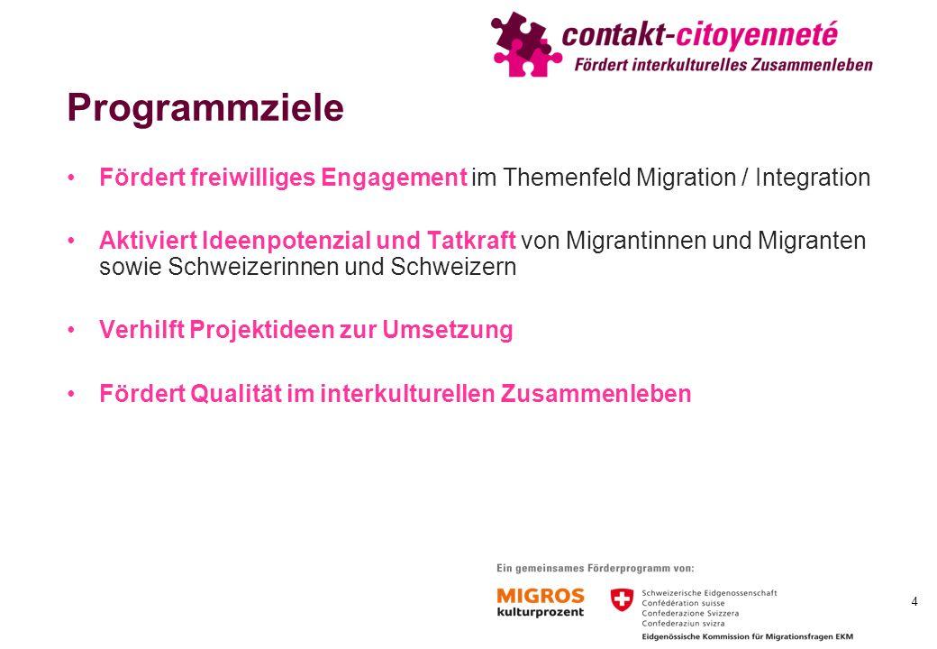 Programmziele Fördert freiwilliges Engagement im Themenfeld Migration / Integration Aktiviert Ideenpotenzial und Tatkraft von Migrantinnen und Migranten sowie Schweizerinnen und Schweizern Verhilft Projektideen zur Umsetzung Fördert Qualität im interkulturellen Zusammenleben 4