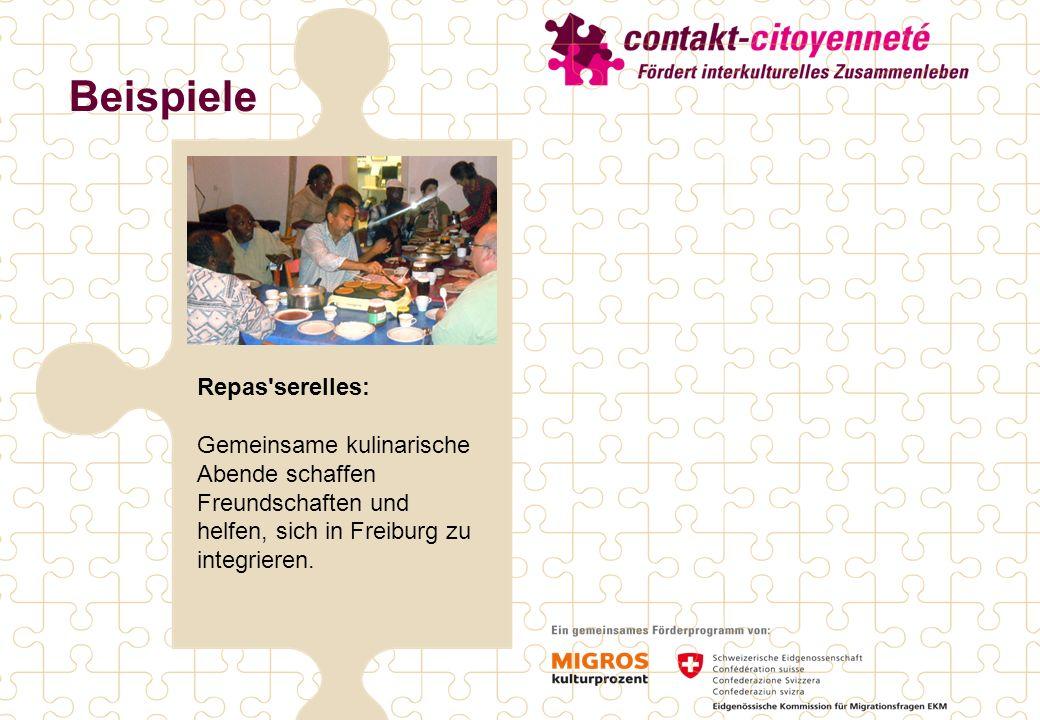 Beispiele Repas serelles: Gemeinsame kulinarische Abende schaffen Freundschaften und helfen, sich in Freiburg zu integrieren.