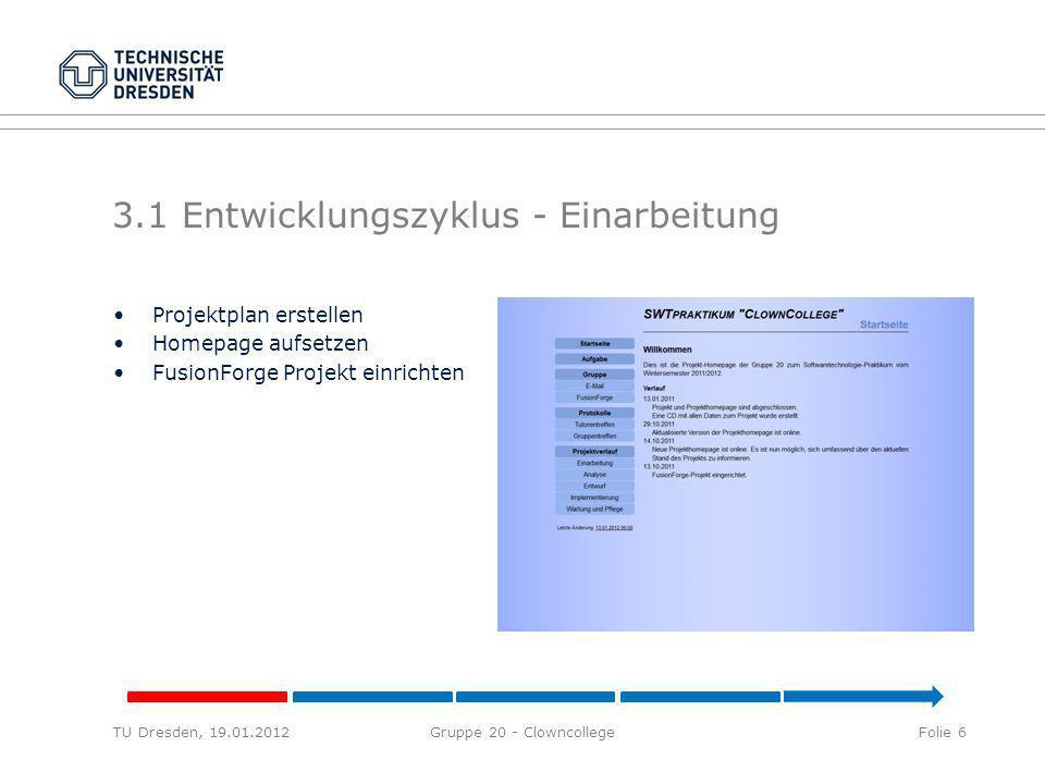 3.1 Entwicklungszyklus - Einarbeitung TU Dresden, 19.01.2012Gruppe 20 - ClowncollegeFolie 6 Projektplan erstellen Homepage aufsetzen FusionForge Projekt einrichten