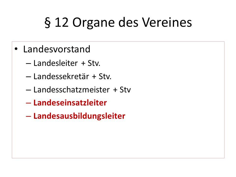 § 12 Organe des Vereines Landesvorstand – Landesleiter + Stv. – Landessekretär + Stv. – Landesschatzmeister + Stv – Landeseinsatzleiter – Landesausbil