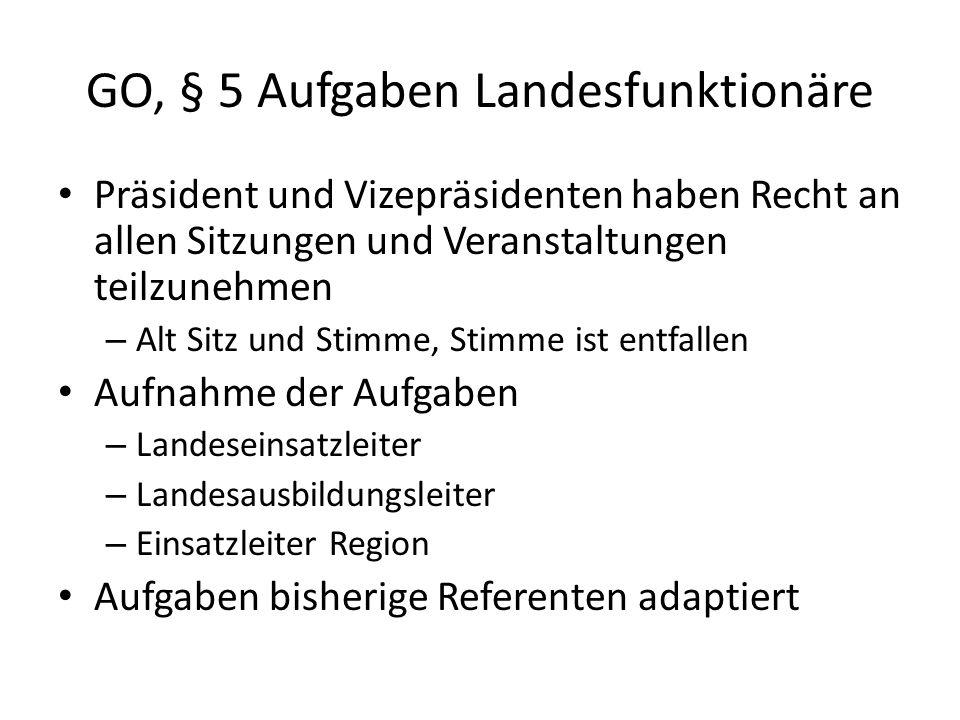 GO, § 5 Aufgaben Landesfunktionäre Präsident und Vizepräsidenten haben Recht an allen Sitzungen und Veranstaltungen teilzunehmen – Alt Sitz und Stimme