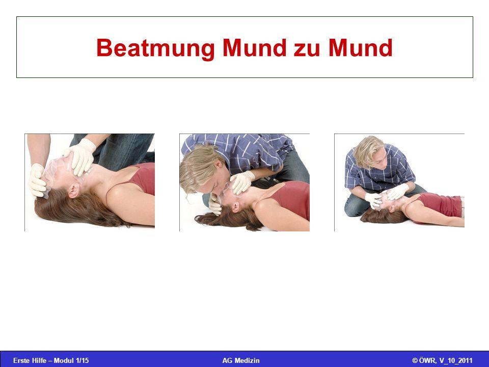 Erste Hilfe – Modul 1/15© ÖWR, V_10_2011AG Medizin Beatmung Mund zu Mund