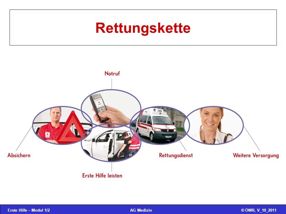 Erste Hilfe – Modul 1/3© ÖWR, V_10_2011AG Medizin Notruf Feuerwehr122 Polizei133 Rettung144 Euro/GSM-Notruf112 auch bei gesperrtem Handy auch ohne SIM-Karte in Österreich zur Polizei Vergiftungsinformationszentrale (VIZ) 01 – 406 43 43