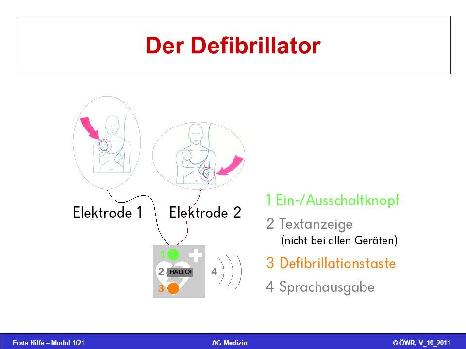 Erste Hilfe – Modul 1/21© ÖWR, V_10_2011AG Medizin Der Defibrillator