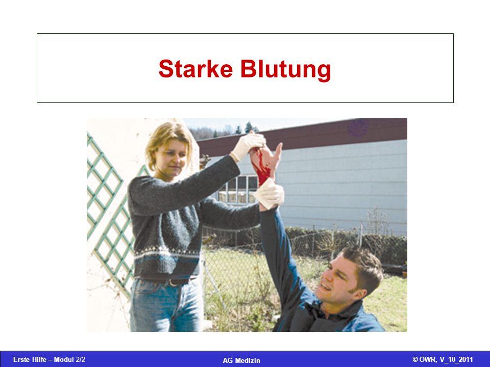 Erste Hilfe – Modul 2/2© ÖWR, V_10_2011 AG Medizin Starke Blutung
