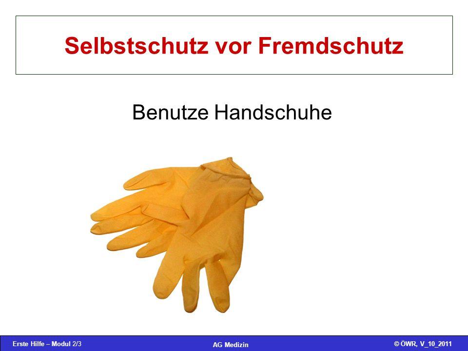 Erste Hilfe – Modul 2/3© ÖWR, V_10_2011 AG Medizin Selbstschutz vor Fremdschutz Benutze Handschuhe