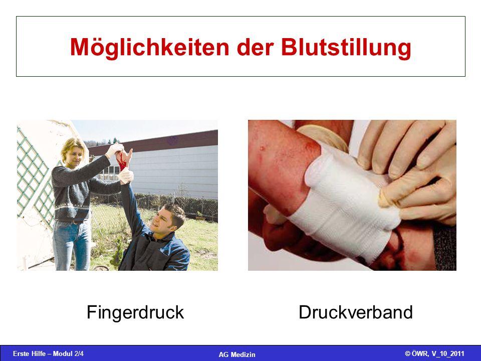 Erste Hilfe – Modul 2/4© ÖWR, V_10_2011 AG Medizin Möglichkeiten der Blutstillung FingerdruckDruckverband