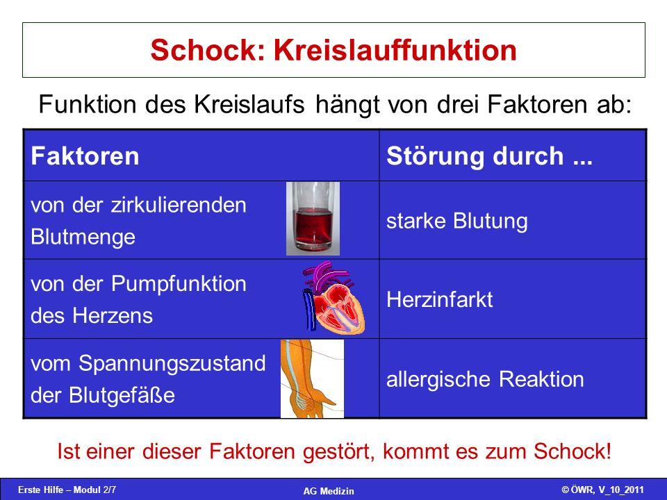 Erste Hilfe – Modul 2/7© ÖWR, V_10_2011 AG Medizin Schock: Kreislauffunktion Funktion des Kreislaufs hängt von drei Faktoren ab: FaktorenStörung durch