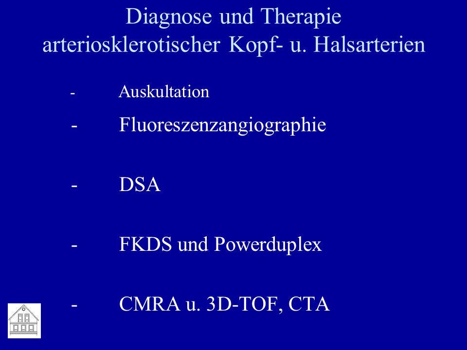 Diagnose und Therapie arteriosklerotischer Kopf- u. Halsarterien - Fluoreszenzangiographie - DSA - FKDS und Powerduplex - CMRA u. 3D-TOF, CTA - Auskul