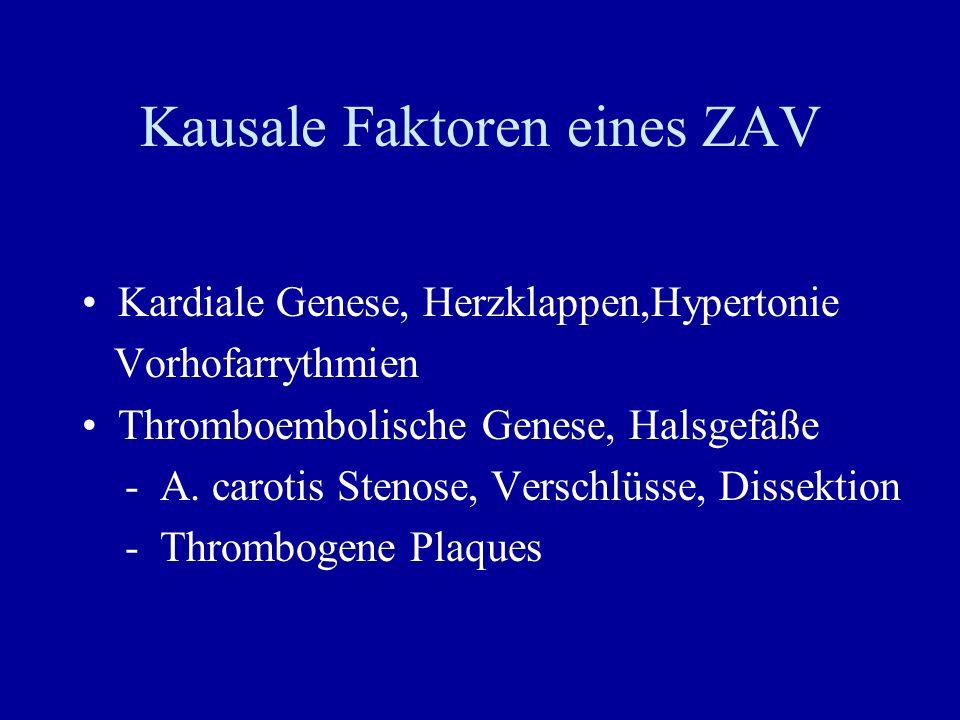 Kausale Faktoren eines ZAV Kardiale Genese, Herzklappen,Hypertonie Vorhofarrythmien Thromboembolische Genese, Halsgefäße - A. carotis Stenose, Verschl