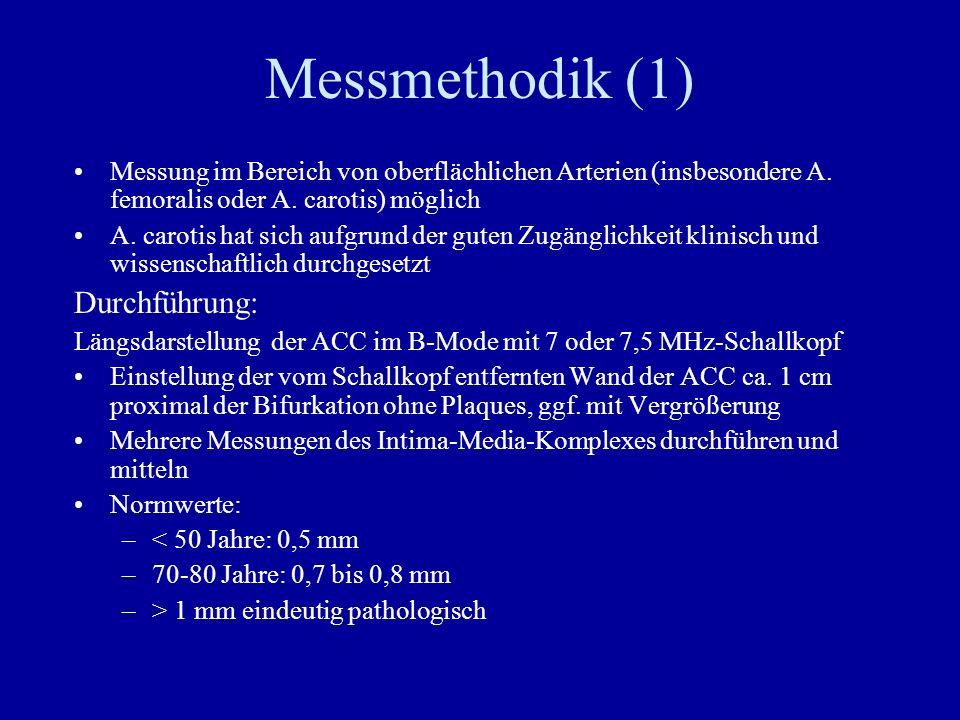 Messmethodik (1) Messung im Bereich von oberflächlichen Arterien (insbesondere A. femoralis oder A. carotis) möglich A. carotis hat sich aufgrund der