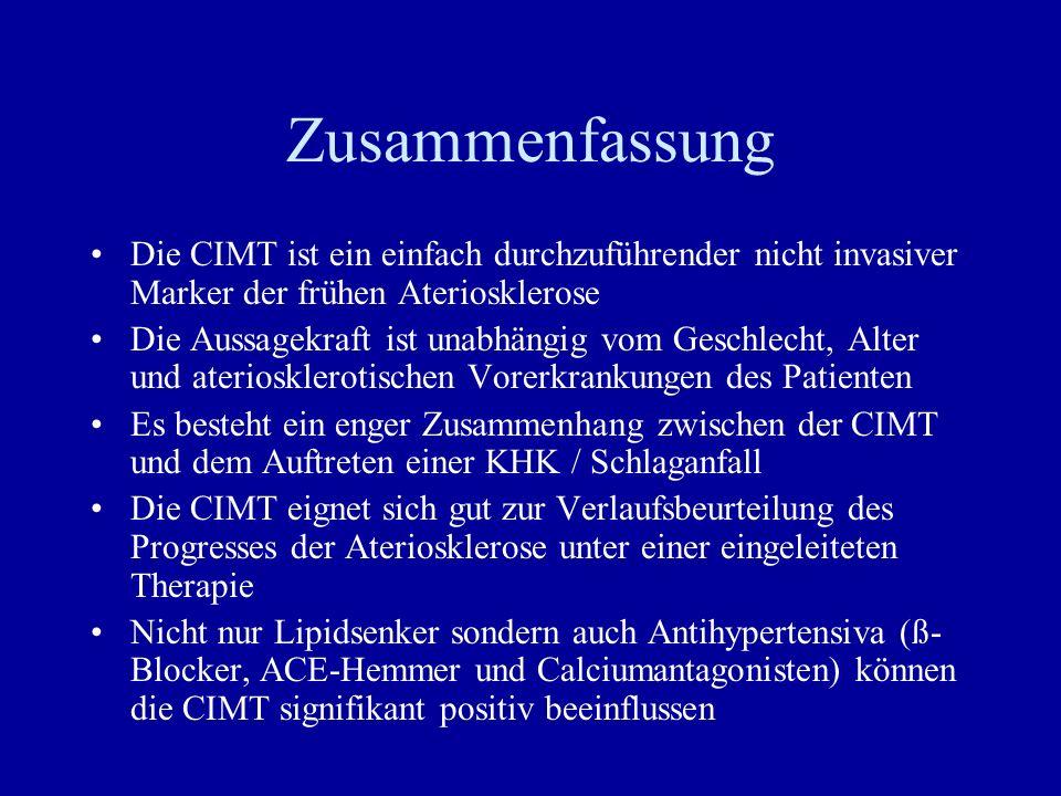 Zusammenfassung Die CIMT ist ein einfach durchzuführender nicht invasiver Marker der frühen Ateriosklerose Die Aussagekraft ist unabhängig vom Geschle