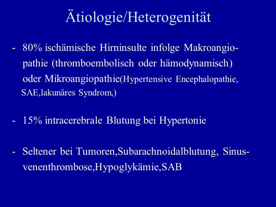 Ätiologie/Heterogenität -80% ischämische Hirninsulte infolge Makroangio- pathie (thromboembolisch oder hämodynamisch) oder Mikroangiopathie (Hypertens