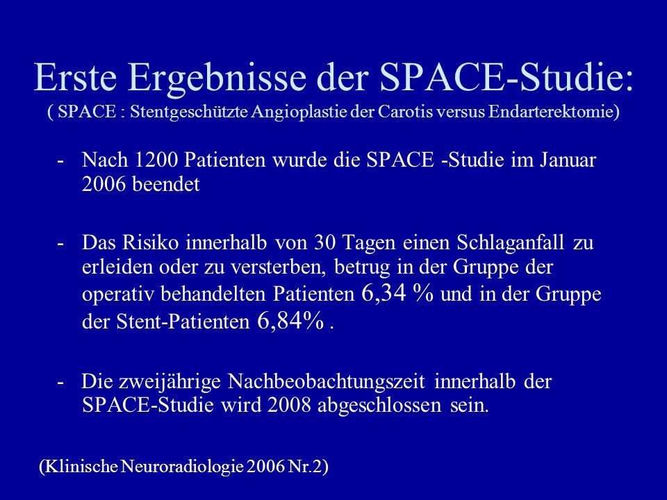 Erste Ergebnisse der SPACE-Studie: ( SPACE : Stentgeschützte Angioplastie der Carotis versus Endarterektomie) -Nach 1200 Patienten wurde die SPACE -St