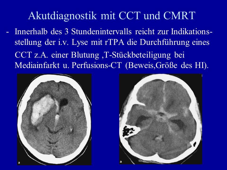 Akutdiagnostik mit CCT und CMRT -Innerhalb des 3 Stundenintervalls reicht zur Indikations- stellung der i.v. Lyse mit rTPA die Durchführung eines CCT