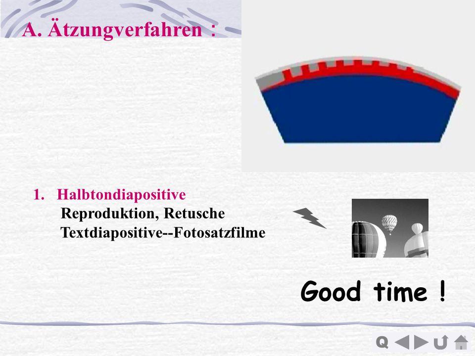 Q 1.Halbtondiapositive Reproduktion, Retusche Textdiapositive--Fotosatzfilme Good time ! A. Ätzungverfahren