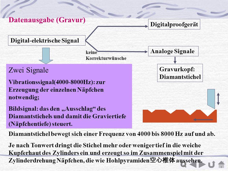 Q Datenausgabe (Gravur) Digital-elektrische Signal Analoge Signale Digitalproofgerät Gravurkopf: Diamantstichel keine Korrekturwünsche Zwei Signale Vi