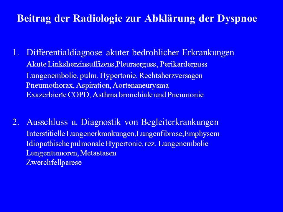 1.Differentialdiagnose akuter bedrohlicher Erkrankungen Akute Linksherzinsuffizens,Pleuraerguss, Perikarderguss Lungenembolie, pulm.