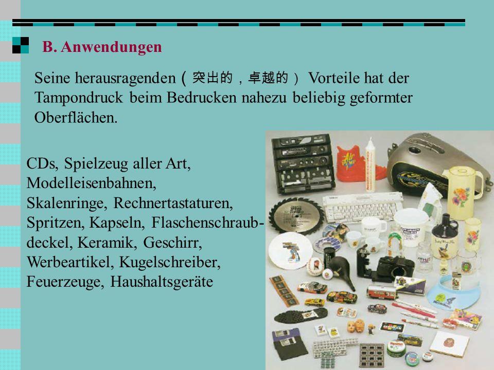 Q B. Anwendungen Seine herausragenden Vorteile hat der Tampondruck beim Bedrucken nahezu beliebig geformter Oberflächen. CDs, Spielzeug aller Art, Mod
