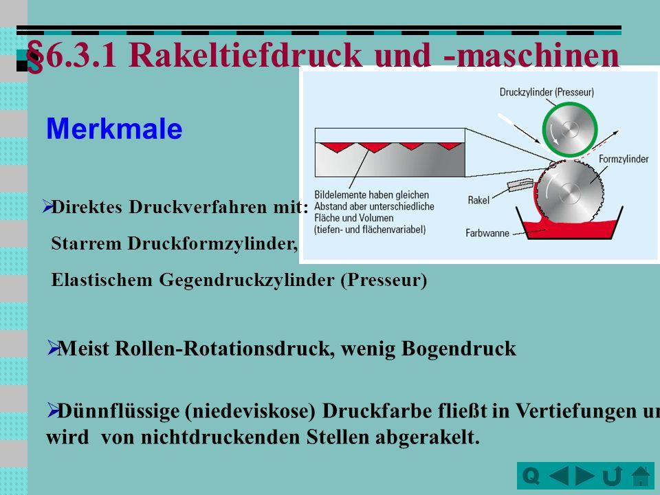 Q Merkmale Direktes Druckverfahren mit: Starrem Druckformzylinder, Elastischem Gegendruckzylinder (Presseur) Meist Rollen-Rotationsdruck, wenig Bogend