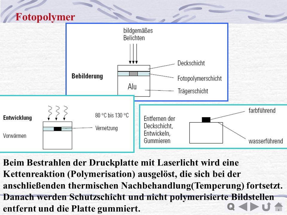 Q Fotopolymer Beim Bestrahlen der Druckplatte mit Laserlicht wird eine Kettenreaktion (Polymerisation) ausgelöst, die sich bei der anschließenden ther