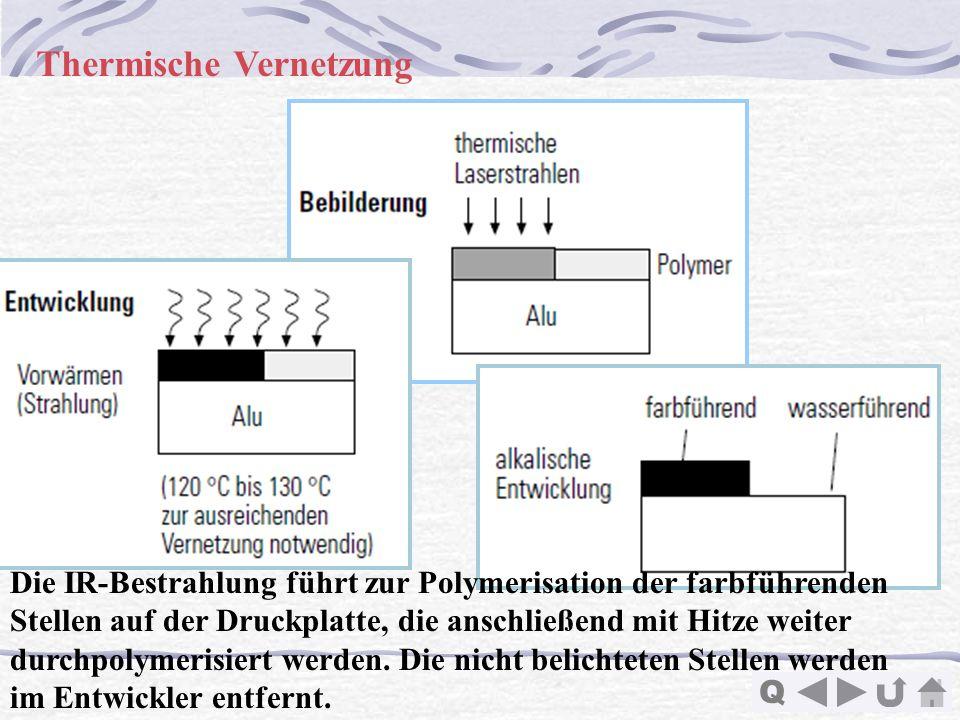 Q Thermische Vernetzung Die IR-Bestrahlung führt zur Polymerisation der farbführenden Stellen auf der Druckplatte, die anschließend mit Hitze weiter d