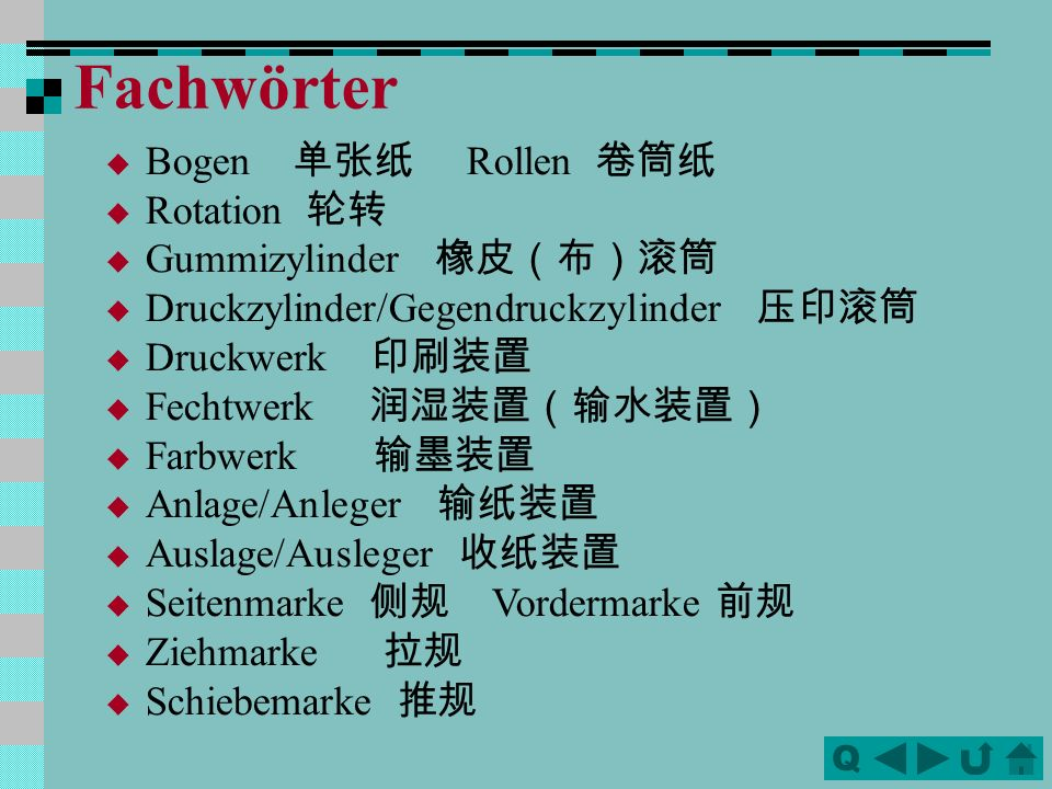 QQ Bogen Rollen Rotation Gummizylinder Druckzylinder/Gegendruckzylinder Druckwerk Fechtwerk Farbwerk Anlage/Anleger Auslage/Ausleger Seitenmarke Vordermarke Ziehmarke Schiebemarke Fachwörter