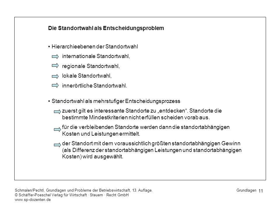 11 Schmalen/Pechtl, Grundlagen und Probleme der Betriebswirtschaft, 13. Auflage. © Schäffer-Poeschel Verlag für Wirtschaft Steuern Recht GmbH www.sp-d