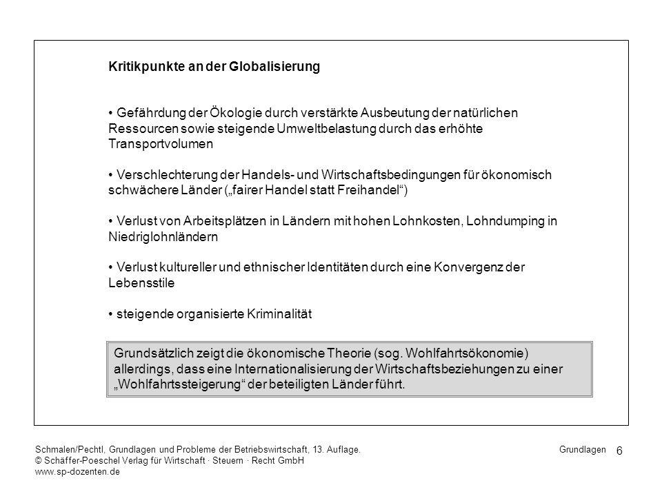 6 Schmalen/Pechtl, Grundlagen und Probleme der Betriebswirtschaft, 13. Auflage. © Schäffer-Poeschel Verlag für Wirtschaft Steuern Recht GmbH www.sp-do