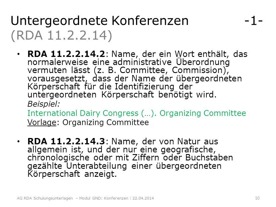 Untergeordnete Konferenzen -1- (RDA 11.2.2.14) RDA 11.2.2.14.2: Name, der ein Wort enthält, das normalerweise eine administrative Überordnung vermuten