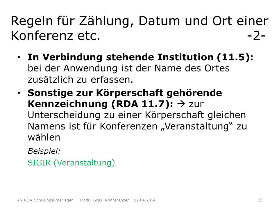 Regeln für Zählung, Datum und Ort einer Konferenz etc. -2- In Verbindung stehende Institution (11.5): bei der Anwendung ist der Name des Ortes zusätzl