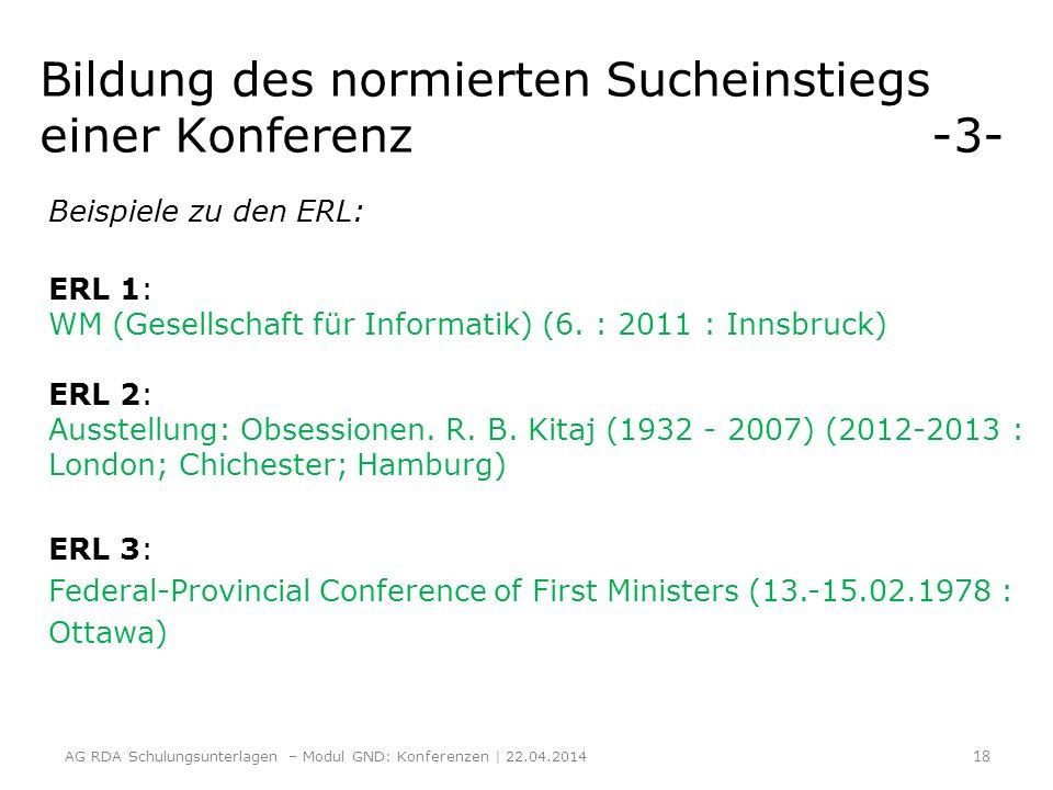Bildung des normierten Sucheinstiegs einer Konferenz -3- Beispiele zu den ERL: ERL 1: WM (Gesellschaft für Informatik) (6. : 2011 : Innsbruck) ERL 2:
