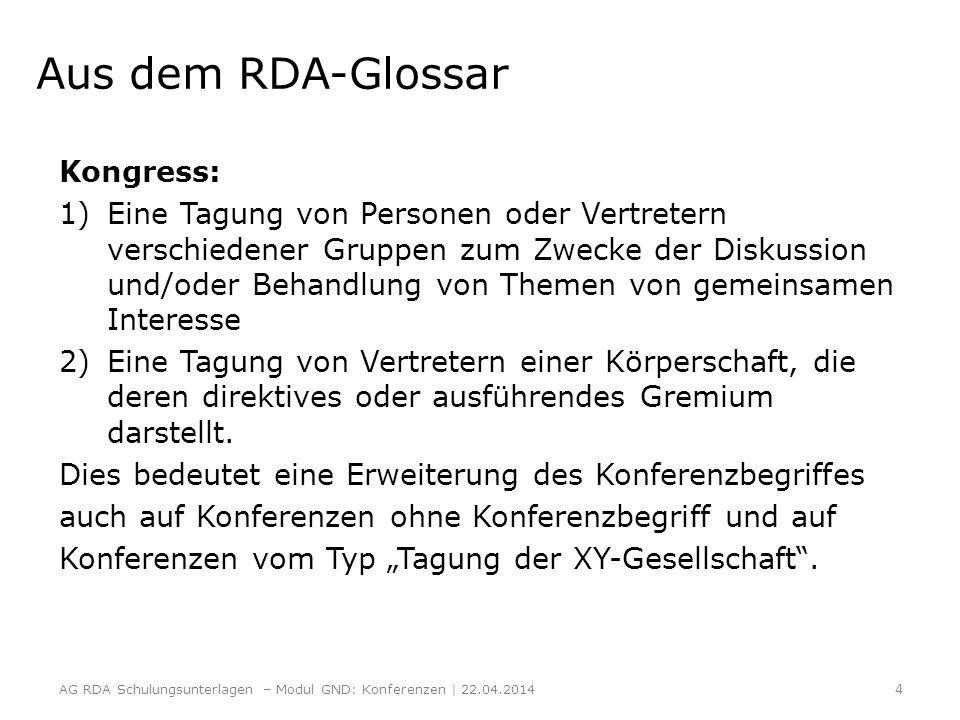 Aus dem RDA-Glossar Kongress: 1)Eine Tagung von Personen oder Vertretern verschiedener Gruppen zum Zwecke der Diskussion und/oder Behandlung von Theme